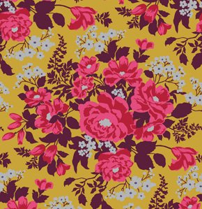 Joel Dewberry Heirloom Fabric - Rose Bouquet - Gold
