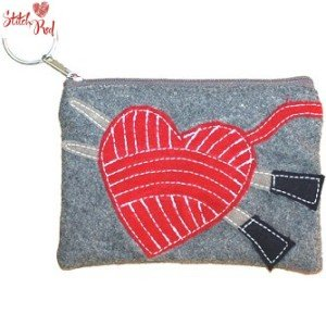 Lantern Moon Felt Keychain Clutch - Red Heart