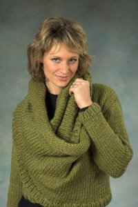 Plymouth Yarn Sweater & Pullover Patterns - 2255 Loop Cowl Sweater Pattern