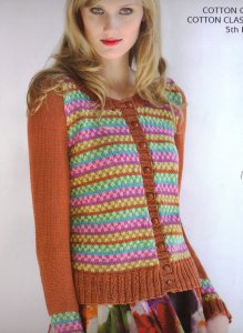 Tahki Cotton Classic Lite Kaleidoscope Fair Isle Cardigan Kit - Women's Cardigans