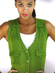 Tahki Cotton Classic Lite Olive You Fitted Vest Kit - Vests