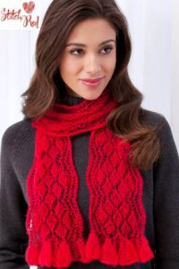 Filatura Di Crosa Stitch Red Kit - Diamond Ruffled Scarf