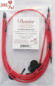 Denise Interchangeable Cord Companion Set Needles - Stitch Red Needles