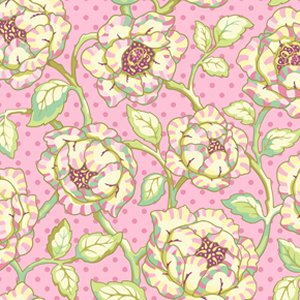 Heather Bailey Freshcut Fabric - Cabbage Rose - Pinkypurple