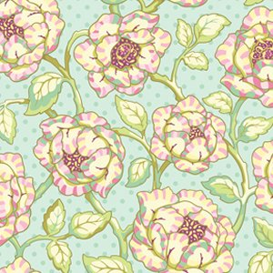 Heather Bailey Freshcut Fabric - Cabbage Rose - Turquoise