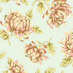 Heather Bailey Freshcut Fabric - Painted Mums - Blue