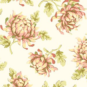 Heather Bailey Freshcut Fabric - Painted Mums - Cream