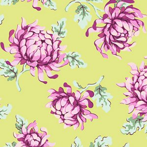 Heather Bailey Freshcut Fabric - Painted Mums - Green
