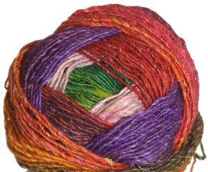 Noro Silk Garden Lite Yarn - 2076 Salmon, Green, Purple (Discontinued)