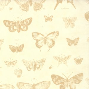 3 Sisters Papillon Fabric - Butterfly Etchings - Ivory (4070 11)