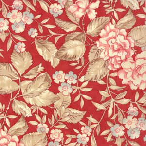 3 Sisters Papillon Fabric - Faded Garden - Scarlet (4071 13)