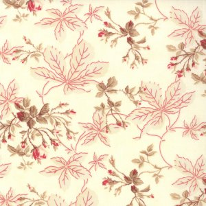 3 Sisters Papillon Fabric - Leaves & Rosebuds - Ivory (4072 11)