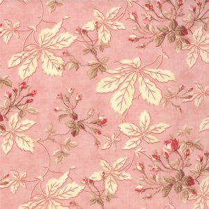 3 Sisters Papillon Fabric - Leaves & Rosebuds - Blush (4072 14)
