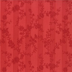 3 Sisters Papillon Fabric - Botanical Stripe - Scarlet (4076 13)