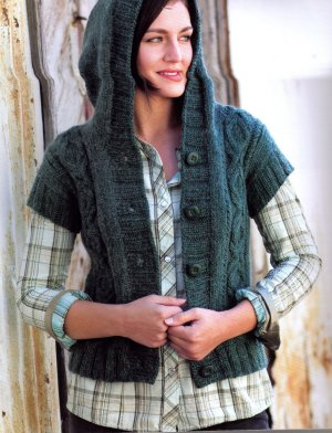 Brown Sheep Lamb's Pride Bulky Heather Hoodie Vest Kit - Women's Cardigans