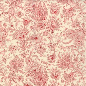 3 Sisters Papillon Fabric - Jacobean - Scarlet (4077 31)