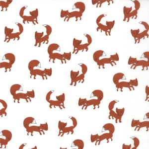Aneela Hoey A Walk in the Woods Fabric - Foxlets - Icing (18521 14)