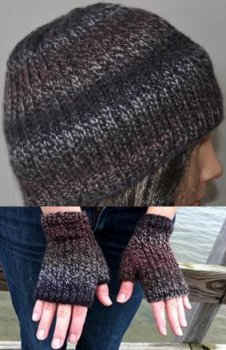 Crystal Palace Mendocino Heel Stitch Fingerless Gloves & Matching Hat Set Kit - Hats and Gloves
