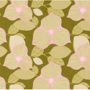 Amy Butler Midwest Modern Fabric - Optic Blossom - Olive
