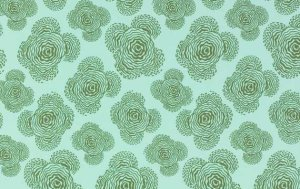 Amy Butler Midwest Modern Fabric - Floating Buds - Aqua