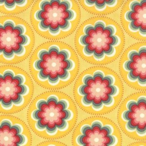 Cosmo Cricket Salt Air Fabric - Coral Bloom - Sunshine (37023 14)