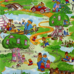 Berenstain Bears Welcome to Bear Country Fabric - Bear Country Scenic - Summer (55500 11)