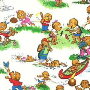 Berenstain Bears Welcome to Bear Country Fabric - Camp Activities - White (55501 11)