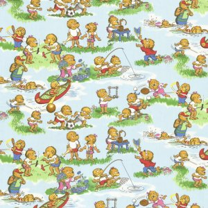 Berenstain Bears Welcome to Bear Country Fabric - Camp Activities - Sky (55501 12)