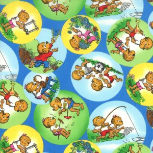 Berenstain Bears Welcome to Bear Country Fabric - Outdoor Bubbles - Blue (55502 13)