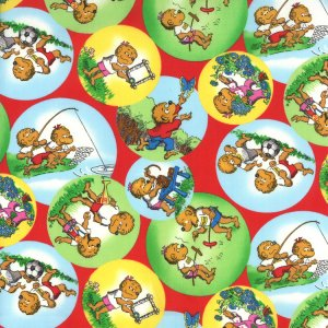 Berenstain Bears Welcome to Bear Country Fabric - Outdoor Bubbles - Red (55502 14)