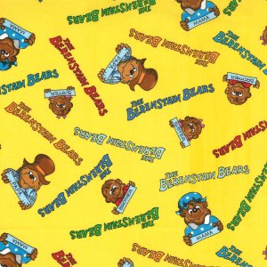 Berenstain Bears Welcome to Bear Country Fabric - Signature Characters - Yellow (55503 12)