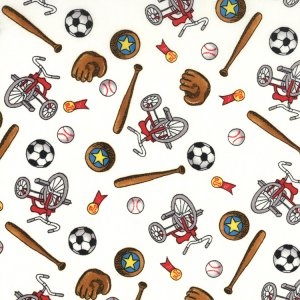 Berenstain Bears Welcome to Bear Country Fabric - Sports Equipment - White (55504 11)