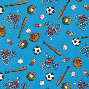 Berenstain Bears Welcome to Bear Country Fabric - Sports Equipment - Turquoise (55504 14)