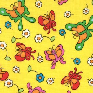 Berenstain Bears Welcome to Bear Country Fabric - Butterfly Friends - Yellow (55505 12)
