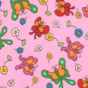 Berenstain Bears Welcome to Bear Country Fabric - Butterfly Friends - Pink (55505 18)