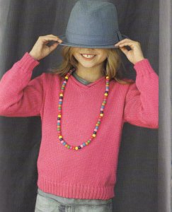 Bergere de France Caline V-Neck Sweater Kit - Baby and Kids Pullovers