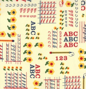 American Jane School Days Fabric - ABC & 123 - Manilla (21611 18)