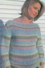 Muench Yarn Patterns - Cascading Capri Stripe Sweater Pattern