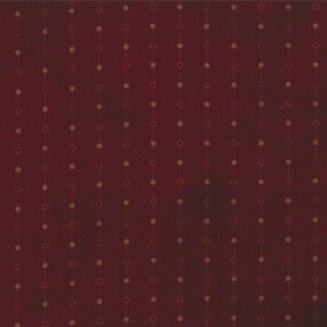 Primitive Gatherings Seasonal Little Gatherings Fabric - Dotted Stripe - Burgundy (1060 18)
