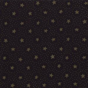 Primitive Gatherings Seasonal Little Gatherings Fabric - Circles and Stars - Raven (1061 16)