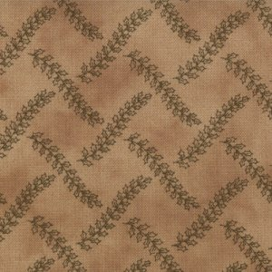 Primitive Gatherings Seasonal Little Gatherings Fabric - Wavy Holly Vines - Time Worn (1062 15)