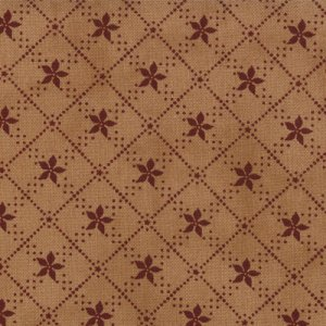 Primitive Gatherings Seasonal Little Gatherings Fabric - Poinsettia - Tan Burgundy (1063 17)