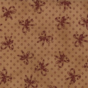 Primitive Gatherings Seasonal Little Gatherings Fabric - Candy Cane - Tan Burgundy (1067 17)