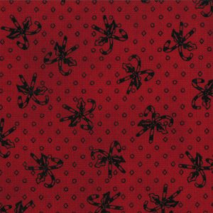 Primitive Gatherings Seasonal Little Gatherings Fabric - Candy Cane - Crimson (1067 33)