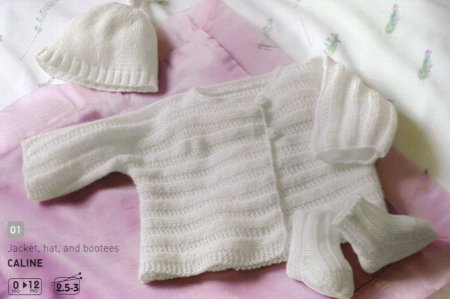 Bergere de France Caline Jacket, Hat, and Booties Set Kit - Baby and Kids Cardigans