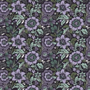Tula Pink Nightshade Fabric - Spider Blossom - Evening Shade