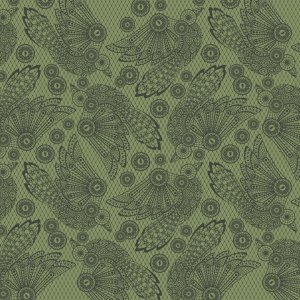 Tula Pink Nightshade Fabric - Raven Lace - Absinthe