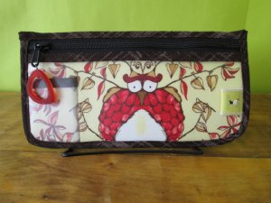 Chicken Boots Notions Case - Opal Owl (Stitch Red)