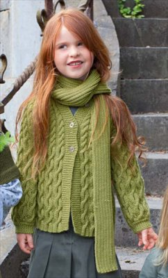 Bergere de France Ideal Kids' Cardi & Matching Scarf Kit - Baby and Kids Cardigans