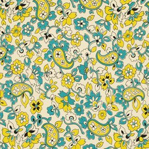 Denyse Schmidt Chicopee Fabric - Paisley - Lime